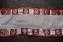 Ruban bourgogne avec motif géométriques argent et taupe