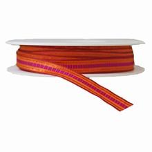 Ruban motif quadrillé orange brûlé fuschia et violet