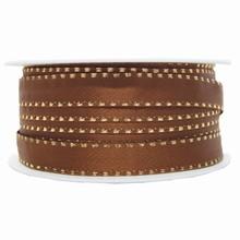 Brown ribbon with metallic gold border