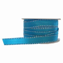 Turquoise ribbon with metallic silver border
