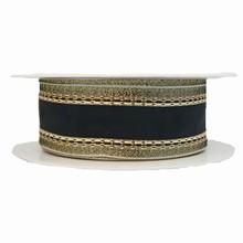 Ruban noir avec bordure doré scintillant