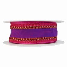 Violet ribbon with glimmering fuschia border
