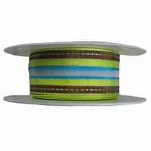 r632 Lime green, turquoise and brown striped ribbon