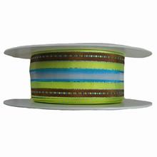r632 Ruban vert lime, turquoise et marron