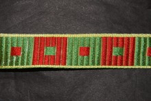 Red and green square motif ribbon