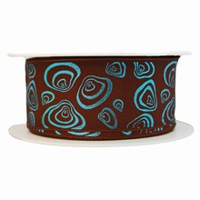 Brown ribbon with modern seashell motif in metallic turquoise