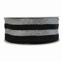Black and metallic silver striped ribbon