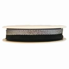 Black and metallic silver striped ribbon