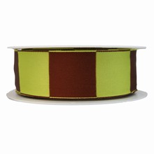 Lime and brown square motif ribbon