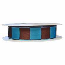 Teal and brown square motif ribbon