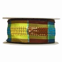 Ruban motif écossais lime, turquoise et marron