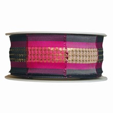 R1082 Pink and black plaid ribbon