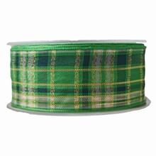 NO18 Ruban vert motif écossais doré