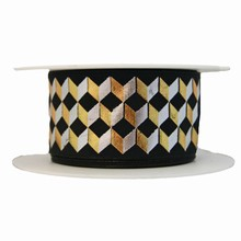Black ribbon with metallic zigzag motif