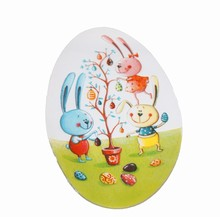 Egg shaped transfer sheet Easter scene 5 1/4 x 3 3/8 in