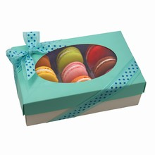 Boîte macaron 'Tiffany' 1/2lb rect. turquoise