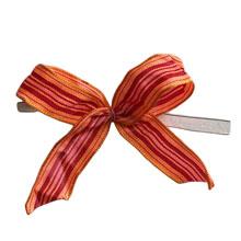 bow136 Boucles motif orange, bourgogne et rose