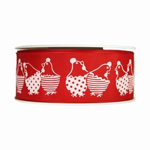 r156 Red ribbon with white hen print 1.5in
