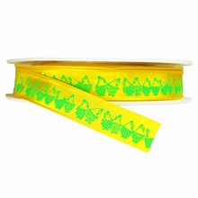 r106 Yellow ribbon with green hen print 5/8in