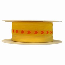 r546 Yellow Ribbon with Orange Hearts 1.5in