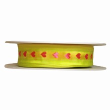 r533 Fluorescent Yellow Ribbon with Pink Hearts 1in