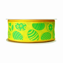 r108 Yellow Ribbon with Green Easter Eggs Motif
