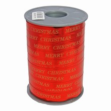 RB614 Bolduc ribbon 'Merry Christmas' in gold on metallic red