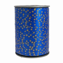 RB140 Bolduc ribbon star motif on blue