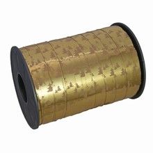 RB441 Ruban bolduc or métallique motif sapins