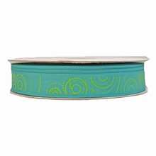 Turquoise ribbon with lime circle motif