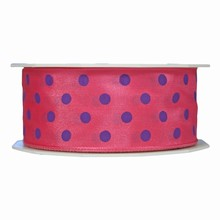 r693 Pink ribbon with violet polka dots 1.5in
