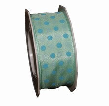 r634 Mint green ribbon with blue polka dots 1.5in