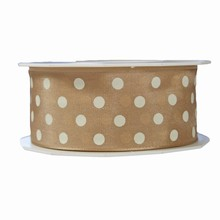r577 Beige ribbon with white polka dots 1.5in
