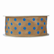 r575 Beige ribbon with blue polka dots 1.5in