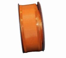 Ruban orange brûlé bordure dorée 35mm