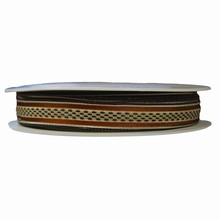 Cream ribbon with brown stripes 5/8in