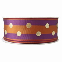 Burnt orange and violet stripes with gold dots ribbon