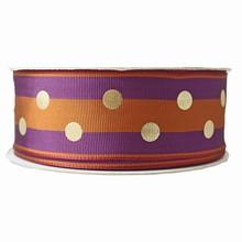 Ruban strié orange brûlé et violet et pois dorés