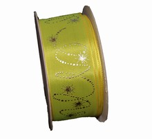 Chartreuse ribbon with metallic platinum shooting stars
