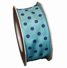r580 Blue ribbon with navy polka dots 1.5in