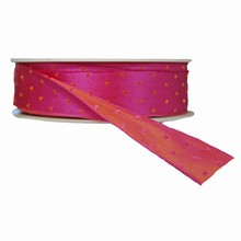 r71 Pink reversible with orange squares ribbon
