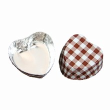 Caissettes métalliques coeur vichy marron VF102 Vrac