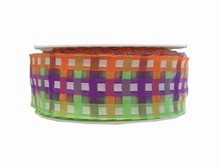rc233 Purple, Lime and Orange Plaid Wired Ribbon
