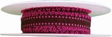 r95 Ruban marron avec picots rose bonbon