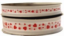 VA27 Valentine ribbon red hearts on white