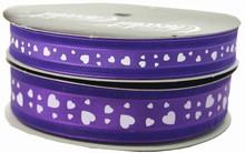 VA30 Valentine ribbon white hearts on purple
