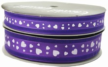 VA31 Valentine ribbon white hearts on purple