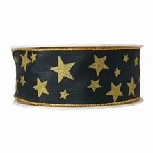 RP613 ruban noir avec étoiles dorées