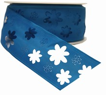 rf34 Ruban bleu ciel découpage fleur