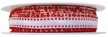 r516 Ruban blanc avec picots rouge